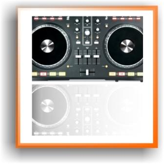 image of a black and grey numark mixtrack pro midi controller