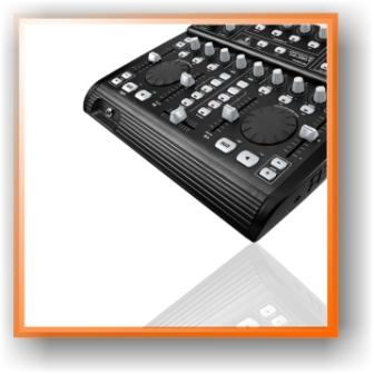 image of a black, grey and white mp3 mixing console