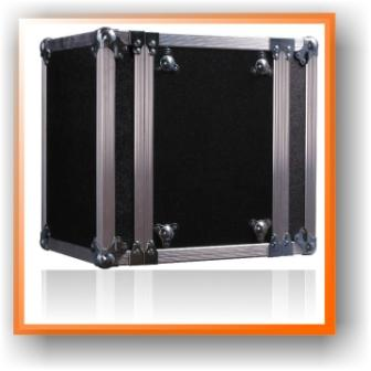 image of a very durable and rugged looking flight case that is black and has an aluminium frame