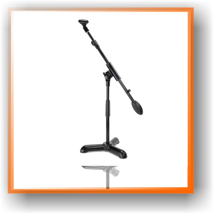 a picture of a black microphone stand, with no mic attached