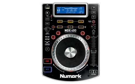 Black Numark ndx400 cdj with a blue LED display